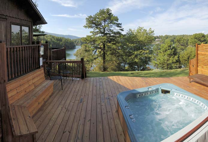 Lake view from hot tub deck at Cedar Cabin