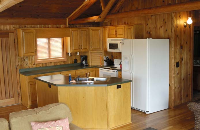 Fully equipped kitchen in Cedar Cabin