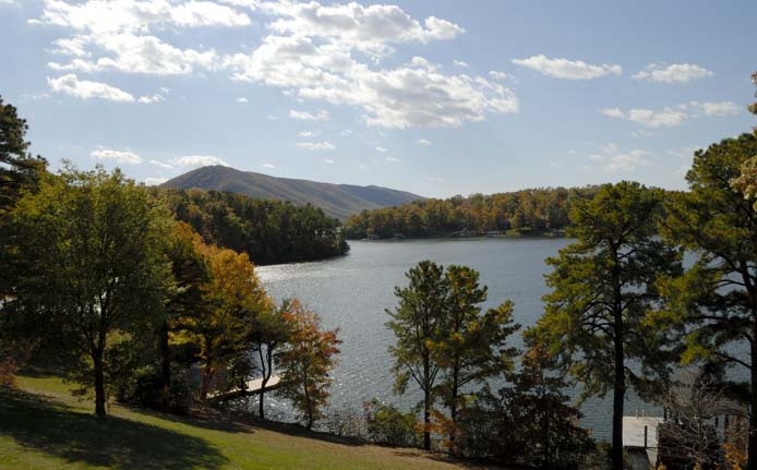 View of Smith Mountain and the lake in the early Fall
