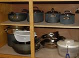 Pots and Pans in Cedar Cabin Kitchen